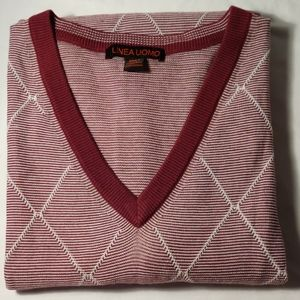 Linea Uomo Burgundy V Neck Knit Sweater